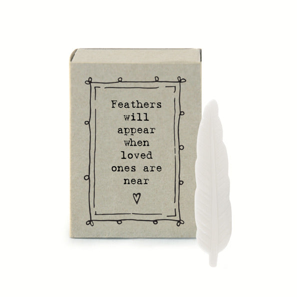 East of India - Feathers will appear when loved ones are near -  porcelain matchbox gift