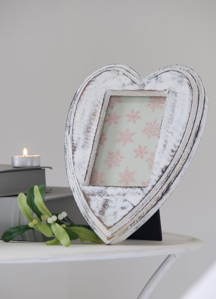 White Heart shaped Distressed frame