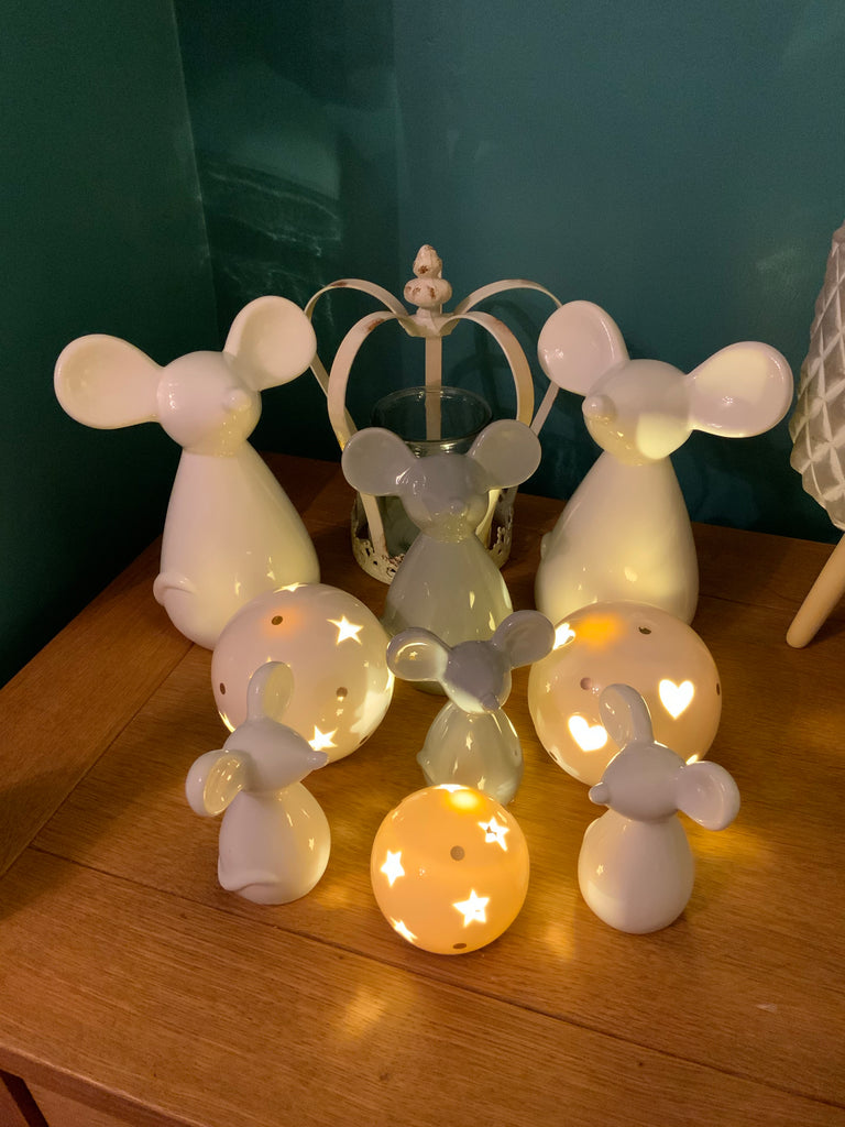 Ceramic led globes - hearts & stars