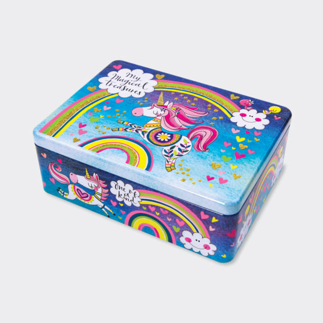 Rainbows and unicorns keepsake tin - Rachel Ellen designs