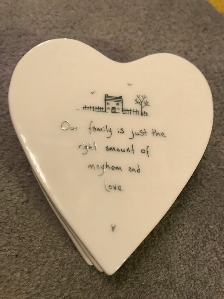 Porcelain coaster -Our family is just the right amount of mayhem and love-  - East of India