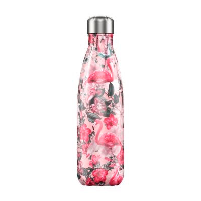 Chilly's water bottle - pink flamingo 500ml