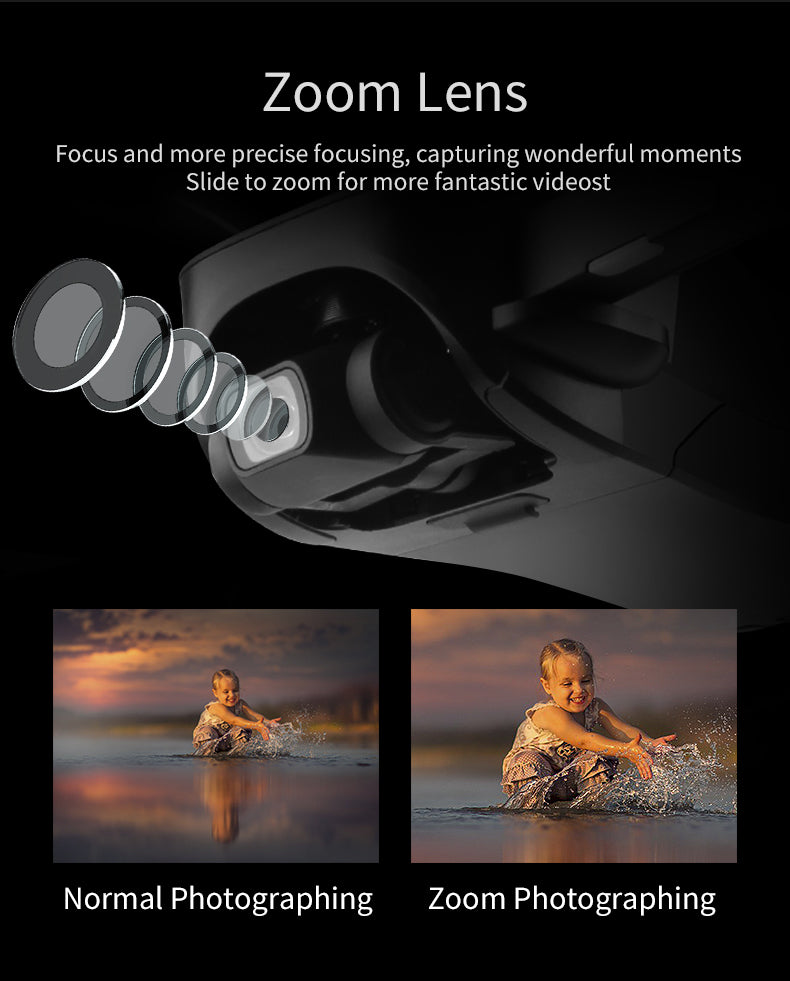 Zoom Lens,Focus and more precise focusing,capturing wonderful moments Slide to zoom for more fantastic videost