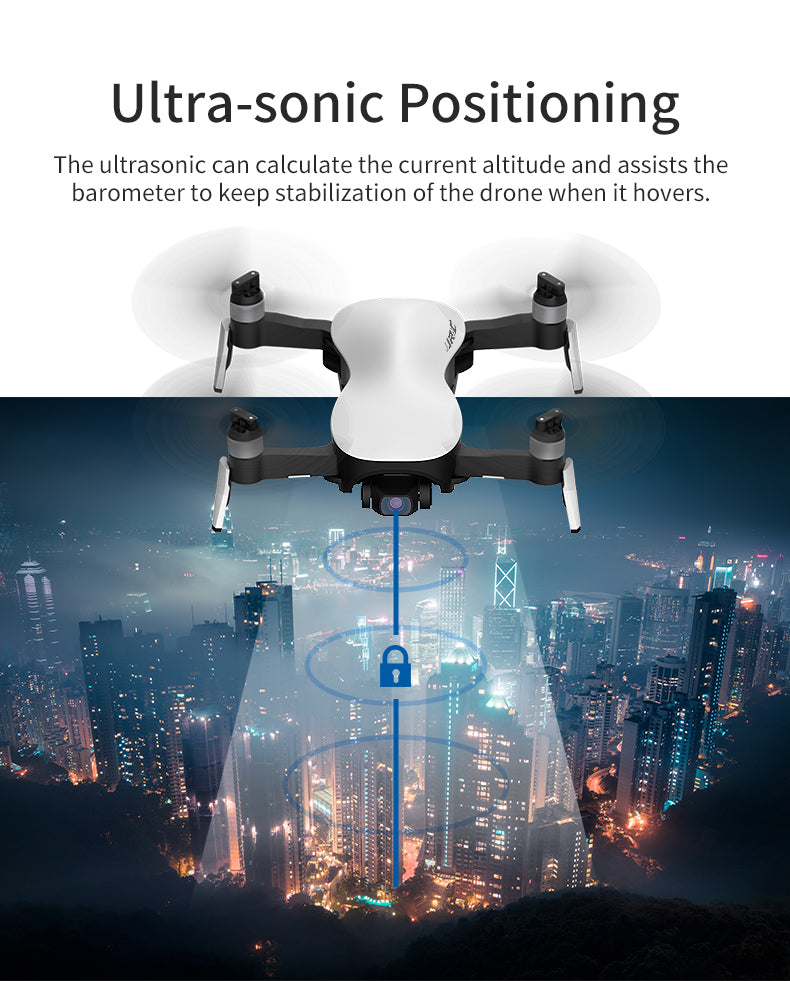 Ultra-sonic Positioning The ultrasonic can calculate the current altitude and assists the barometer to keeps tab it ization of the drone when it hovers.
