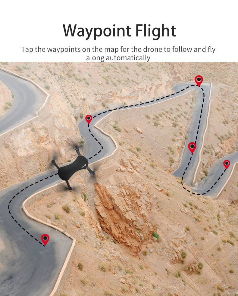 Waypoint Flight,Tap the waypoints on the map for the drone to follow and fly along automatically