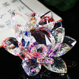 Lotus Crystal Glass Figure Paperweight Ornament Feng Shui