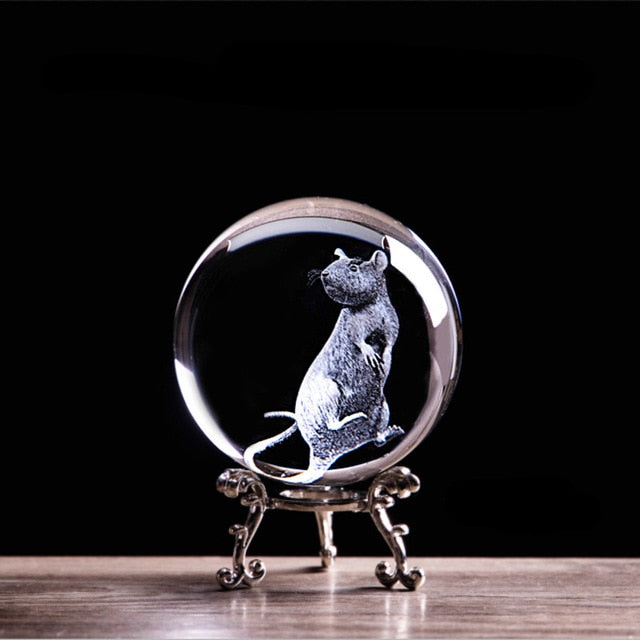 3D Laser Engraved Zodiac Rat Crystal Ball Art Animal Collectible Figurines Feng Shui