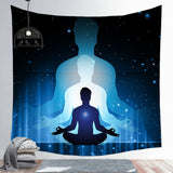 Buddha Statue Meditation 7 Chakra Tapestry Wall Hanging Mandala Tapestries Wall Cloth
