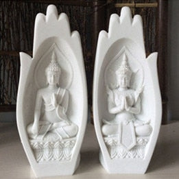 2Pcs Small Buddha Statue Monk Figurine Tathagata Mandala Hands Sculptures