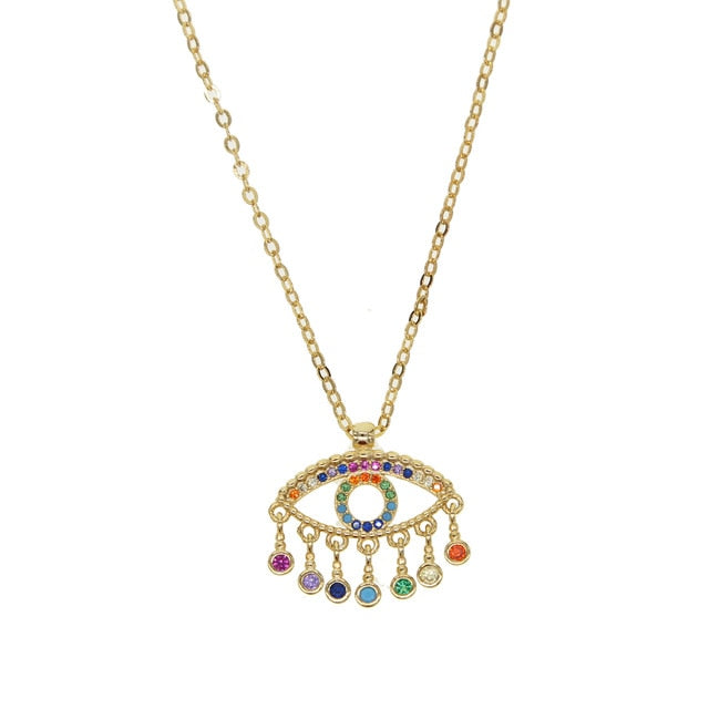 Floating flexible colorful cz drop charm Gold filled turkish evil eye lucky  necklace