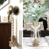 Home Wind Chimes Tassle Farmhouse Beads Natural Wood Style Kids Decoration