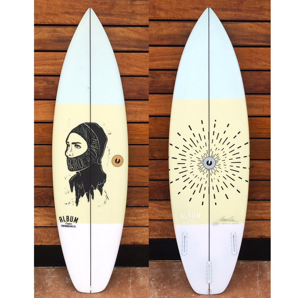 "カリフォルニア在庫 - Album Surfboards - REBOOT, 5'9""x 19""x 2.32"" Beige Tint & Custom Art"