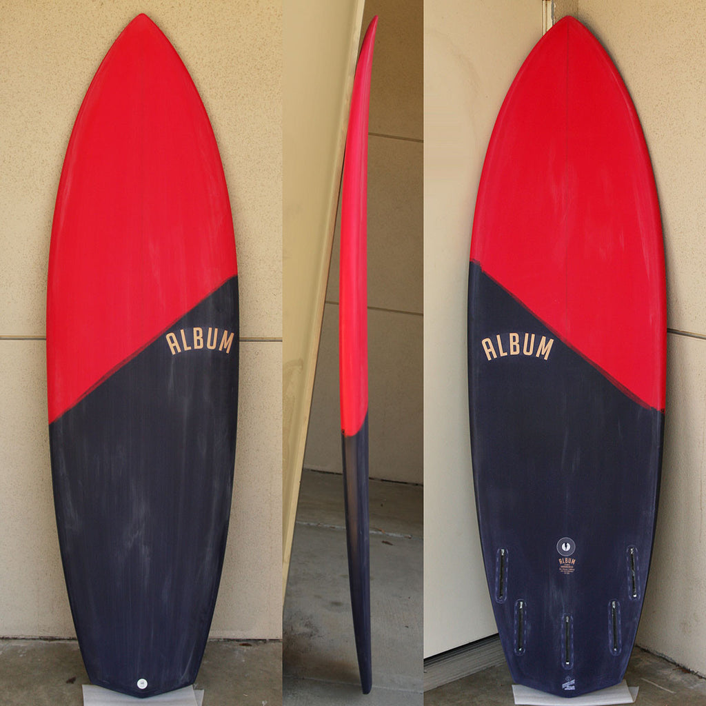 "カリフォルニア在庫 - Album Surfboards - DOOM, 6'3""x 21.5""x 2.88"" Red & Black Tint, EPS"