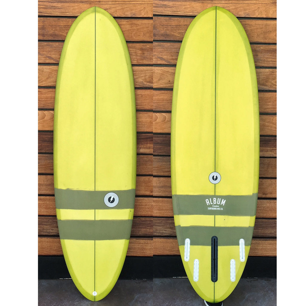 "カリフォルニア在庫 - Album Surfboards - disc, 6'1""x 21.5""x 2.63"" Olive-Green Tint & Stripe"