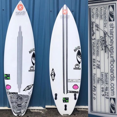 "SHARPEYE SURFBOARDS, USED #46227  Custom 5'6.5"" for Samantha Sibley"