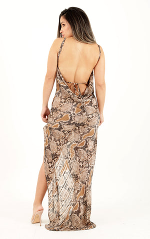 Staying Wild Brown Snake Print Long Dress