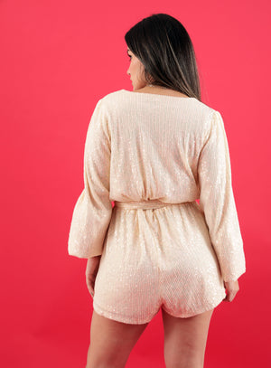 Shining On Cream Long Sleeves Sequins Romper