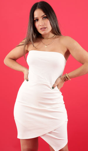 Happy Chance White Strapless Dress