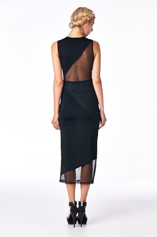 Debutante Clarity Black Midi Dress