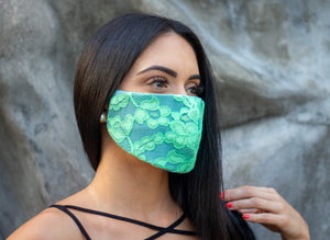 Denim & Green Lace Face Mask