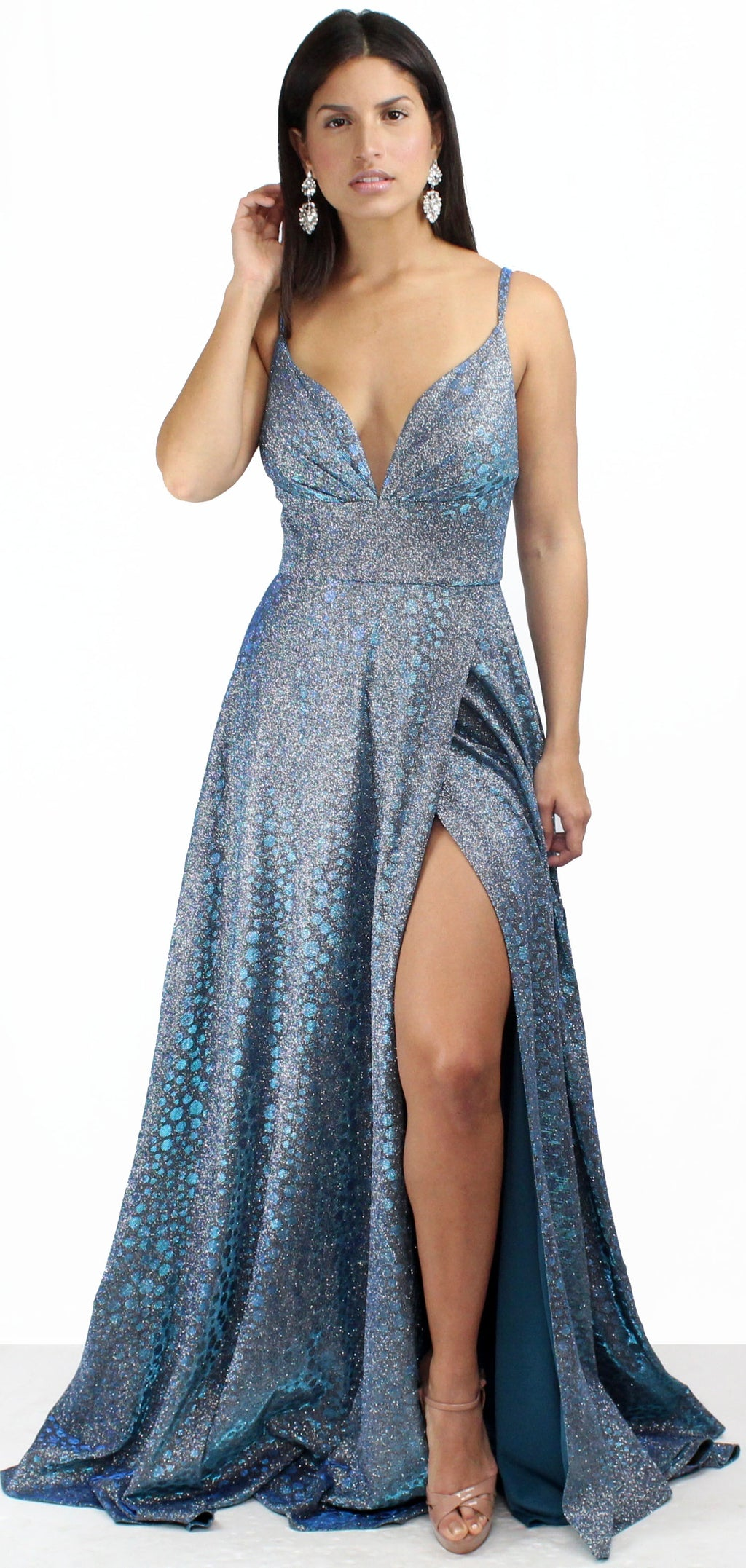 So Enchanted Holographic Blue Formal Gown