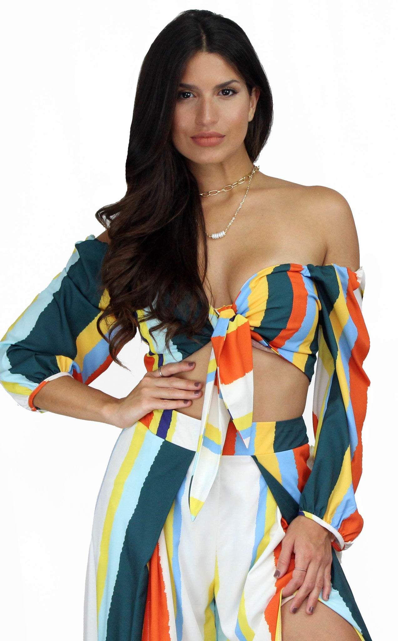 Bring the Colorful Stripes Two-Piece Set