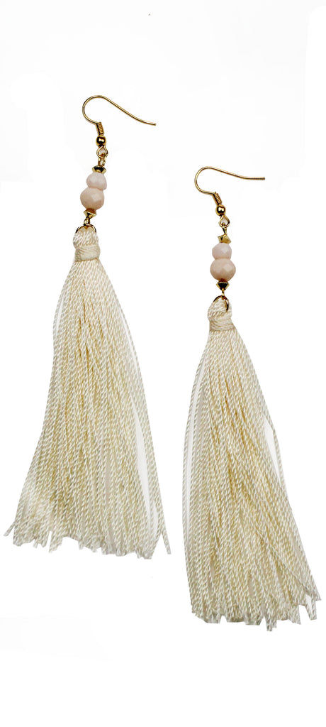 My Beauty Cream Tassel Earrings