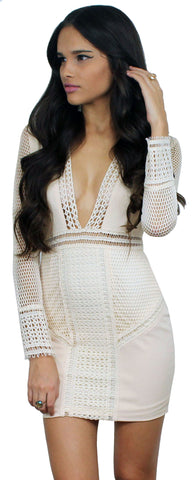 Dream Whirled Nude Lace V-Neck Dress