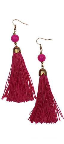 My Beauty Fucsia Tassel Earrings
