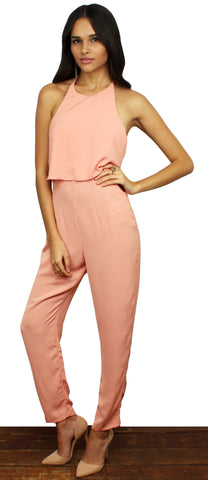 Peaches & Cream Peach Halter Jumpsuit