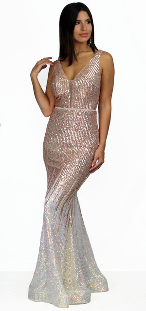 Stun and Only Gold Ombré Sequins Gown