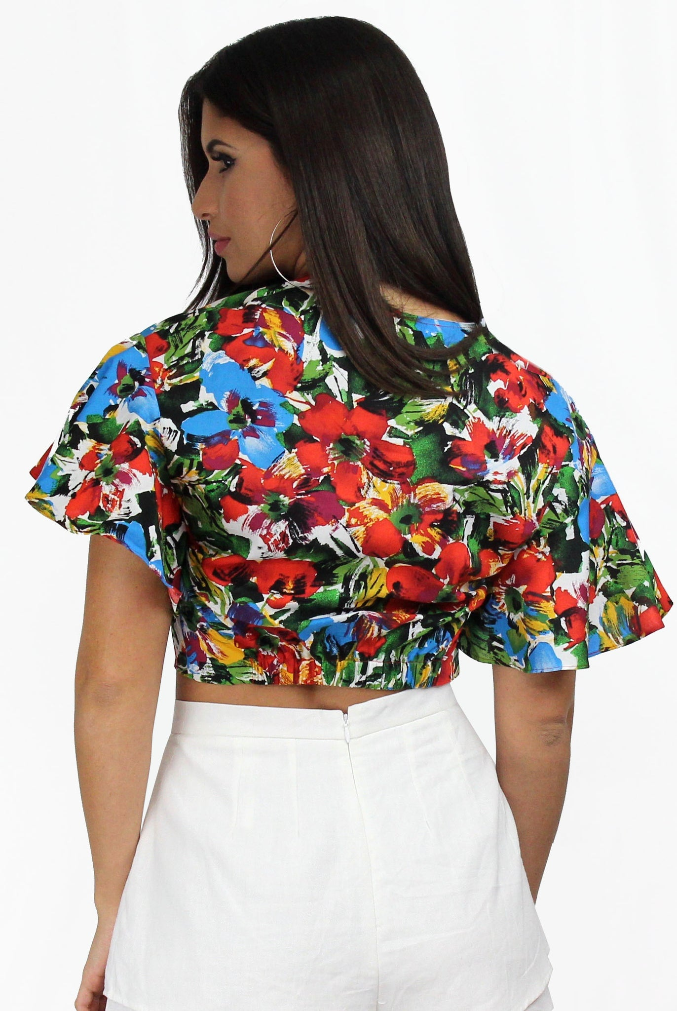 Lucy Loves Tropical Twisted Crop Top