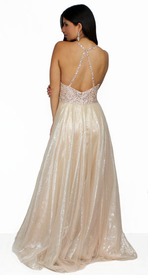 Love Spell Metallic Champagne Ball Gown