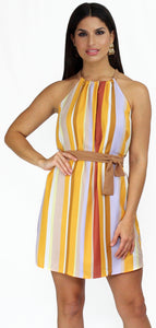 Melodic Yellow Stripes Shift Dress