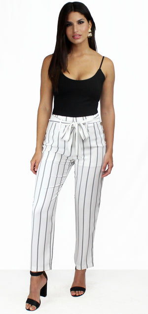 On the Road Stripes White Pants
