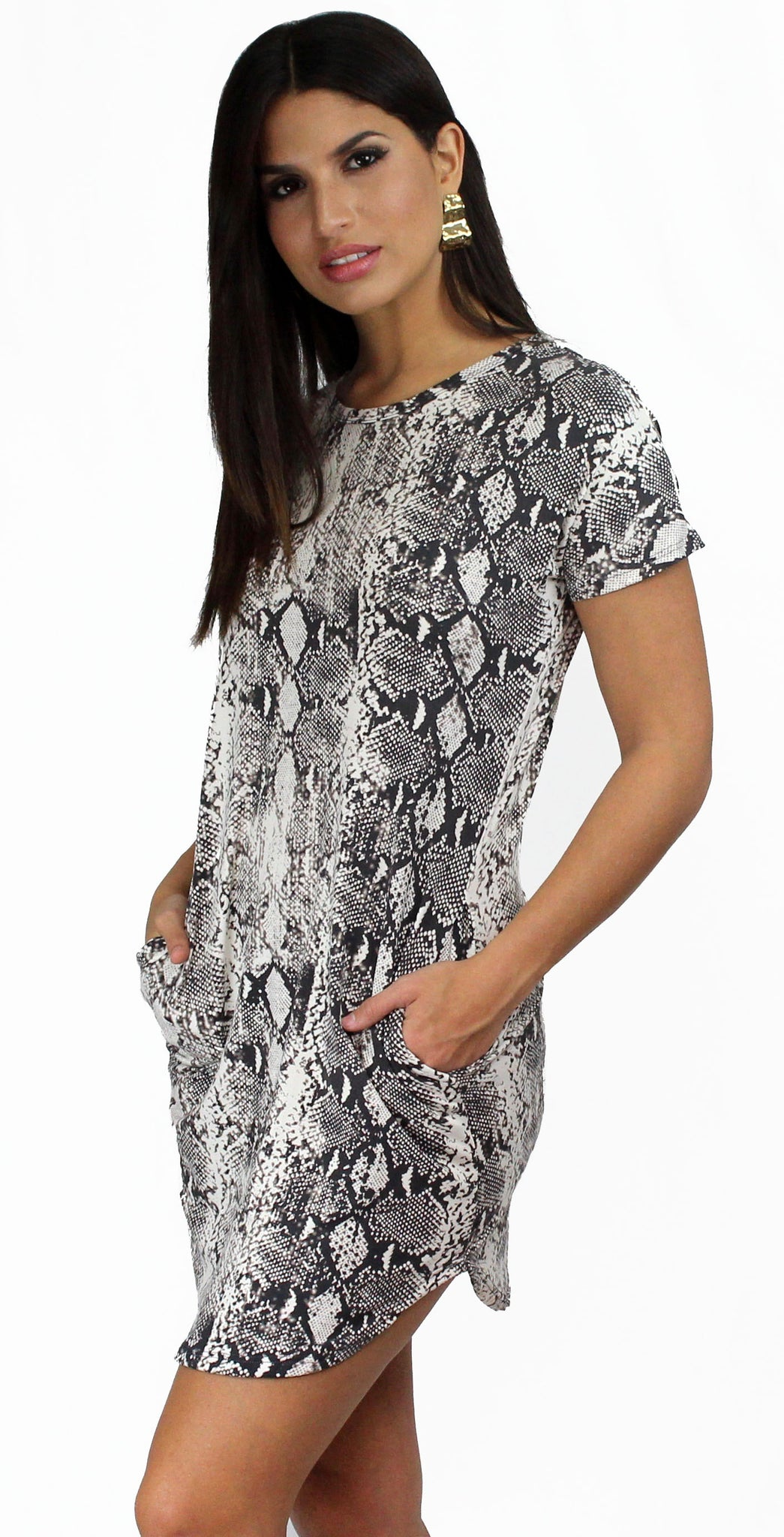 Wild Spirit Grey Snake Print Shift Dress