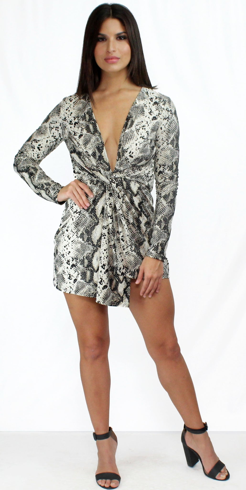 Wonderfully Wild Grey Snake Print Dress