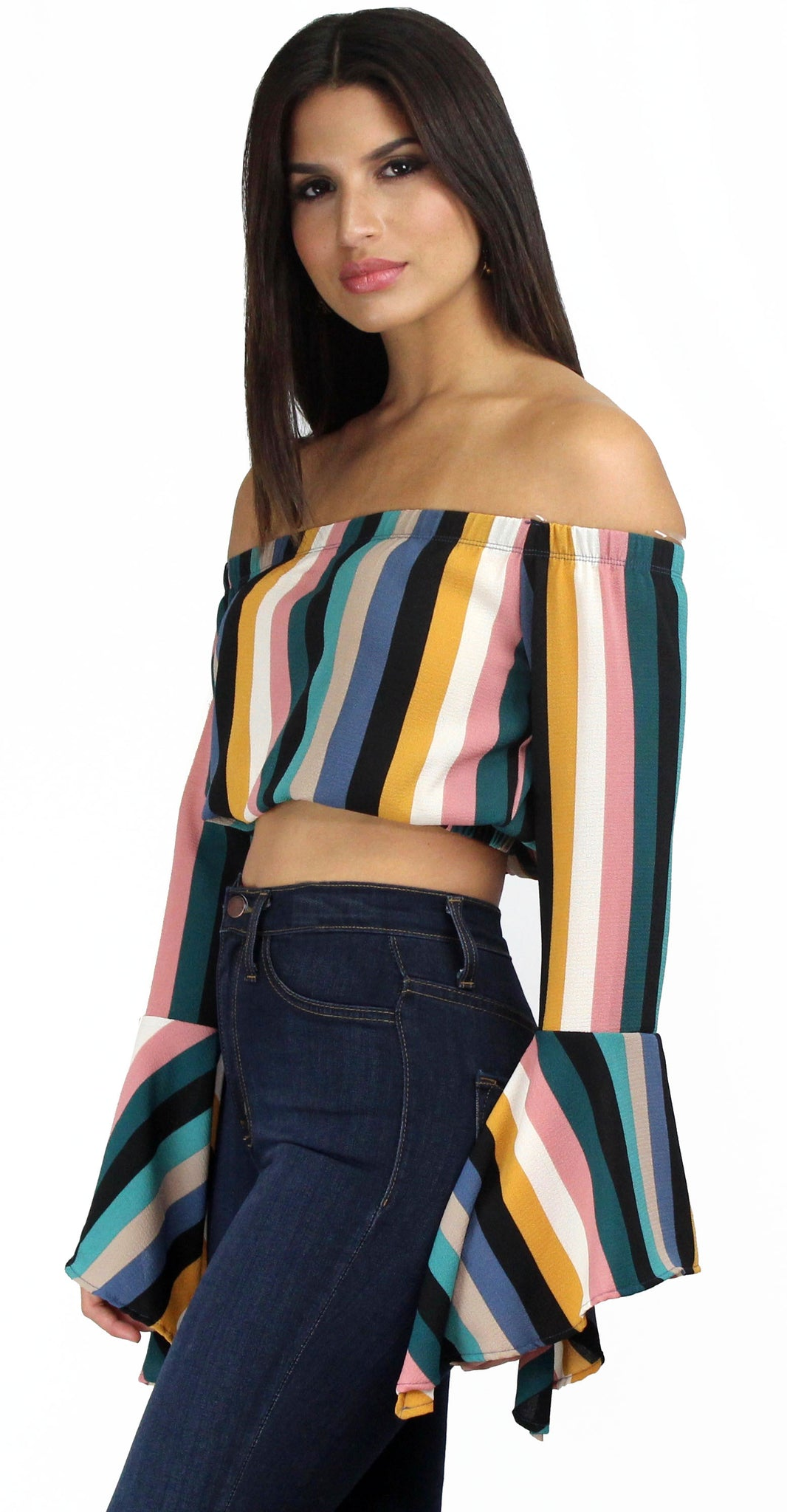Day Dream in Stripes Off-Shoulder Top