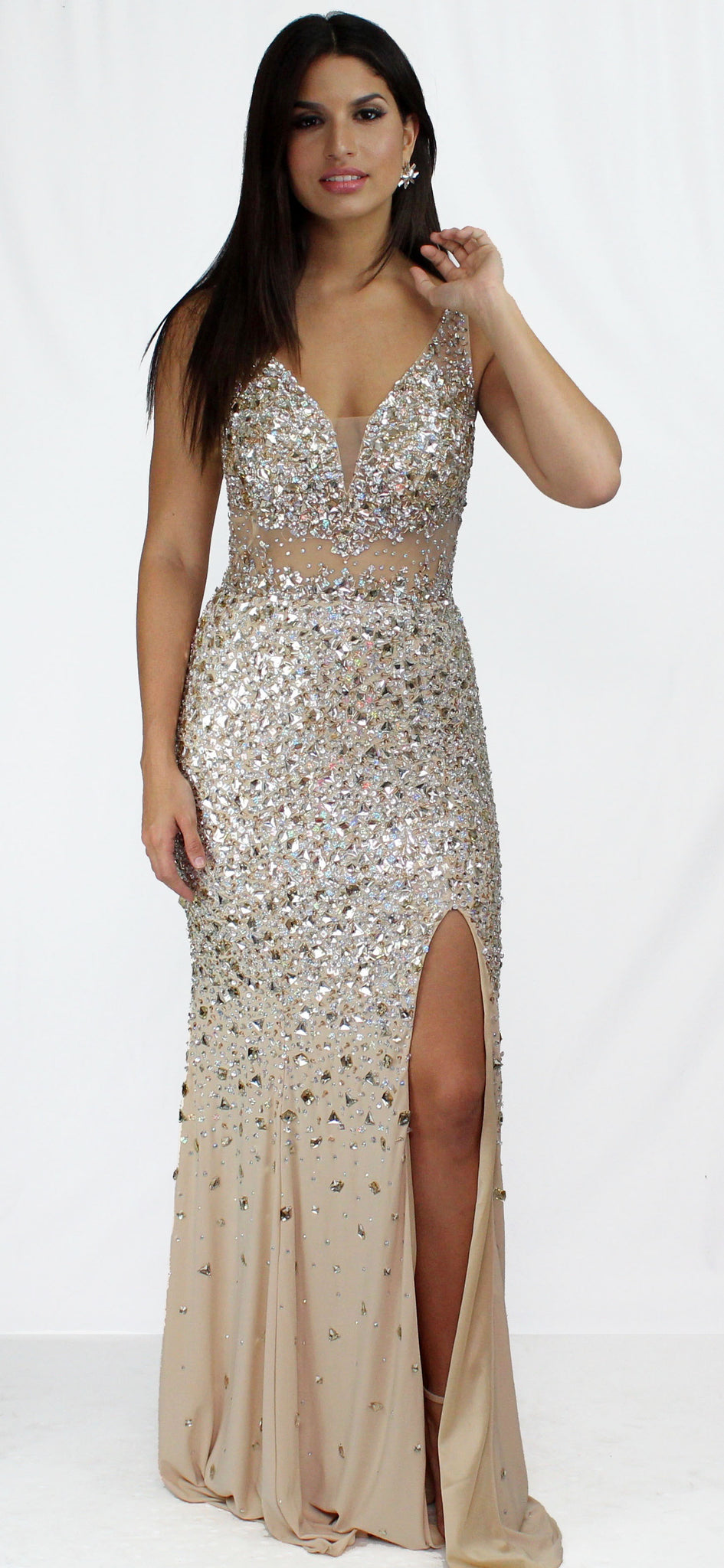Own the Night Nude & Stones Formal Gown