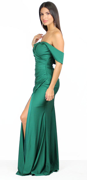 I'm Impressed Off-Shoulder Emerald Gown