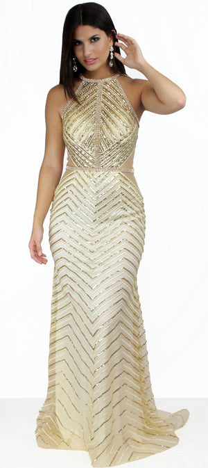 In Golden Showstopper Formal Gown
