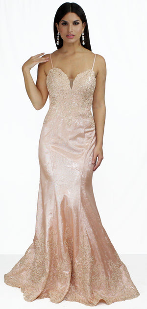 Heavenly Hues Rose Gold Lace Formal Gown