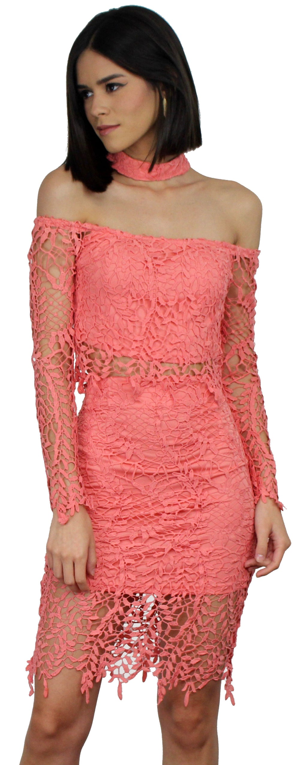 My Way Coral Lace Choker Two-Piece Set