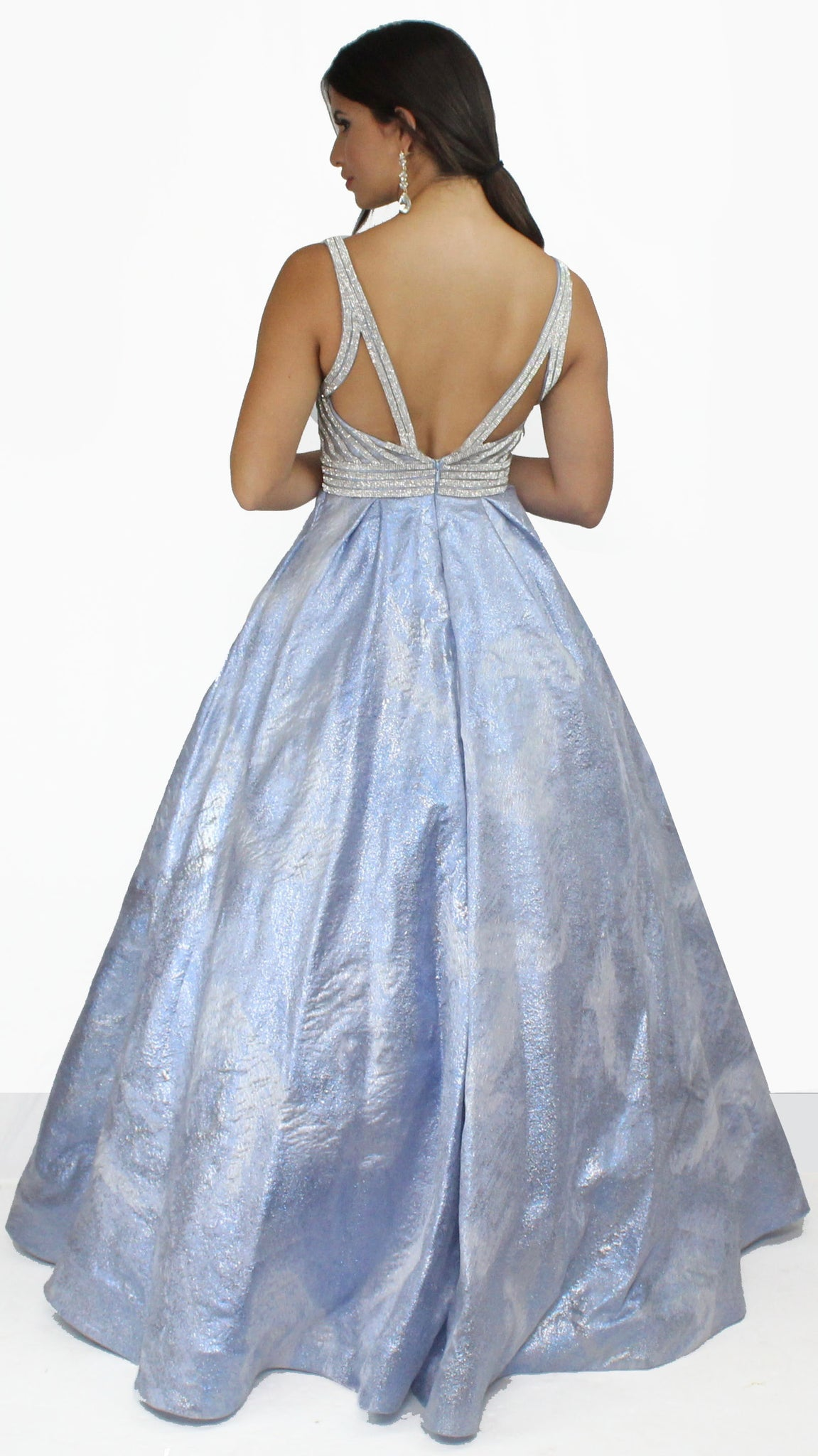 Dream in Light Blue Marble Ball Gown
