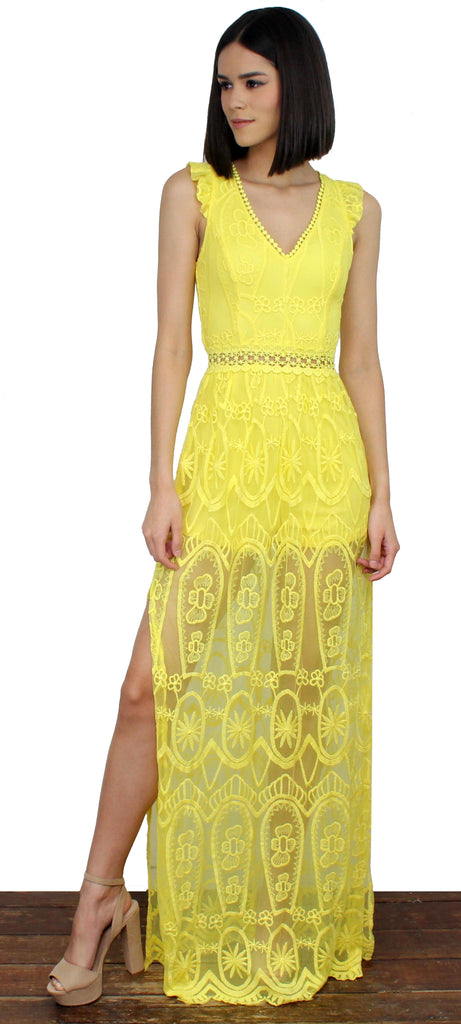 Stay Close Yellow Lace Maxi Dress