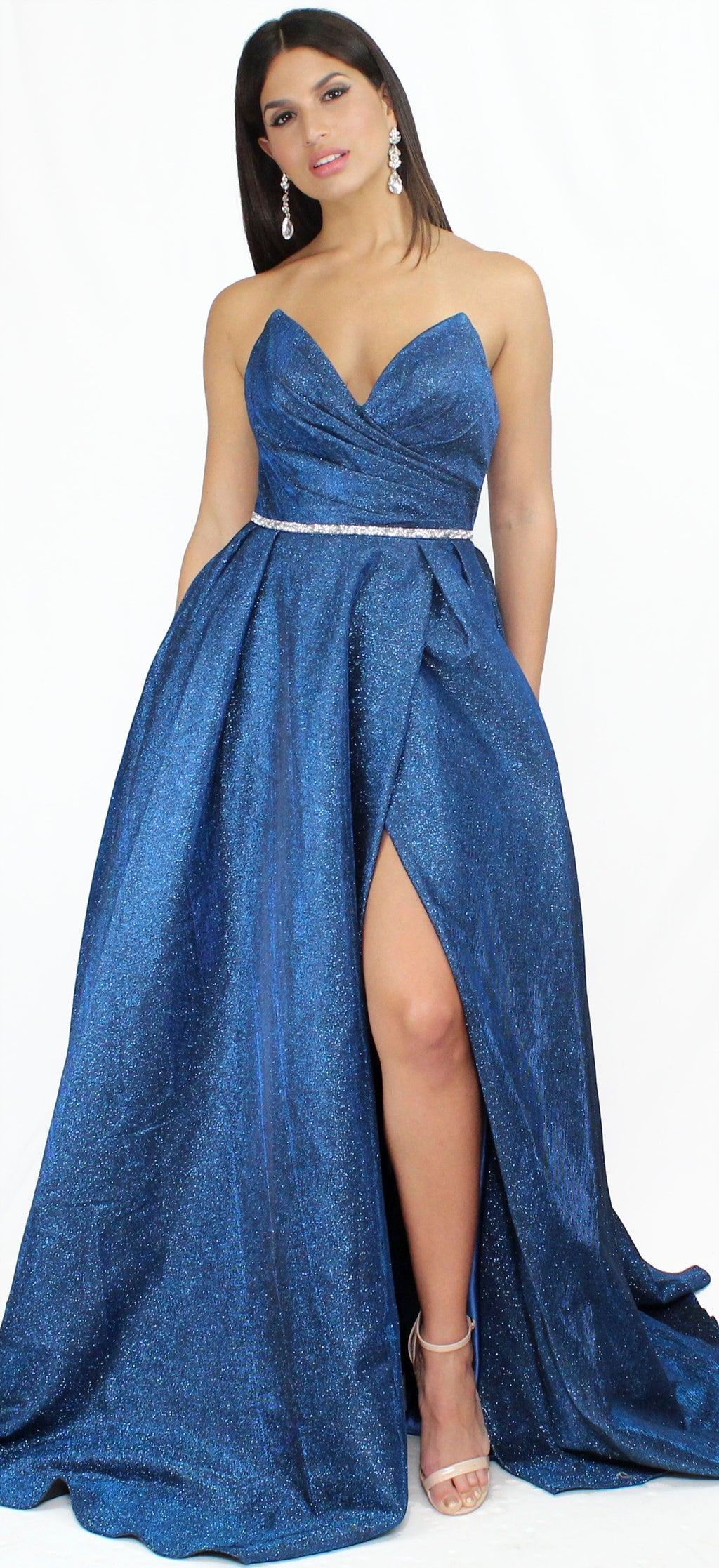 Wishful Wandering Shimmer Dark Royal Gown