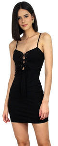 Flirty and Fierce Black LaceUp Bodycon Dress
