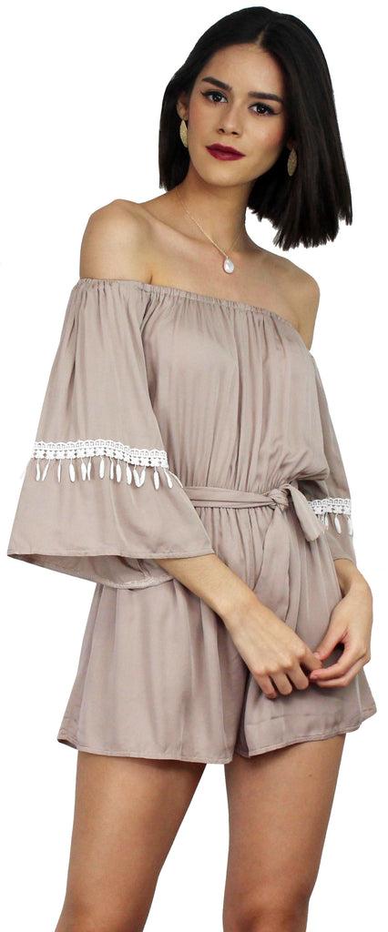 Field Day Nude Off The Shoulder Romper