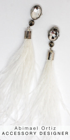 The Most Spectacular White Feather Earrings