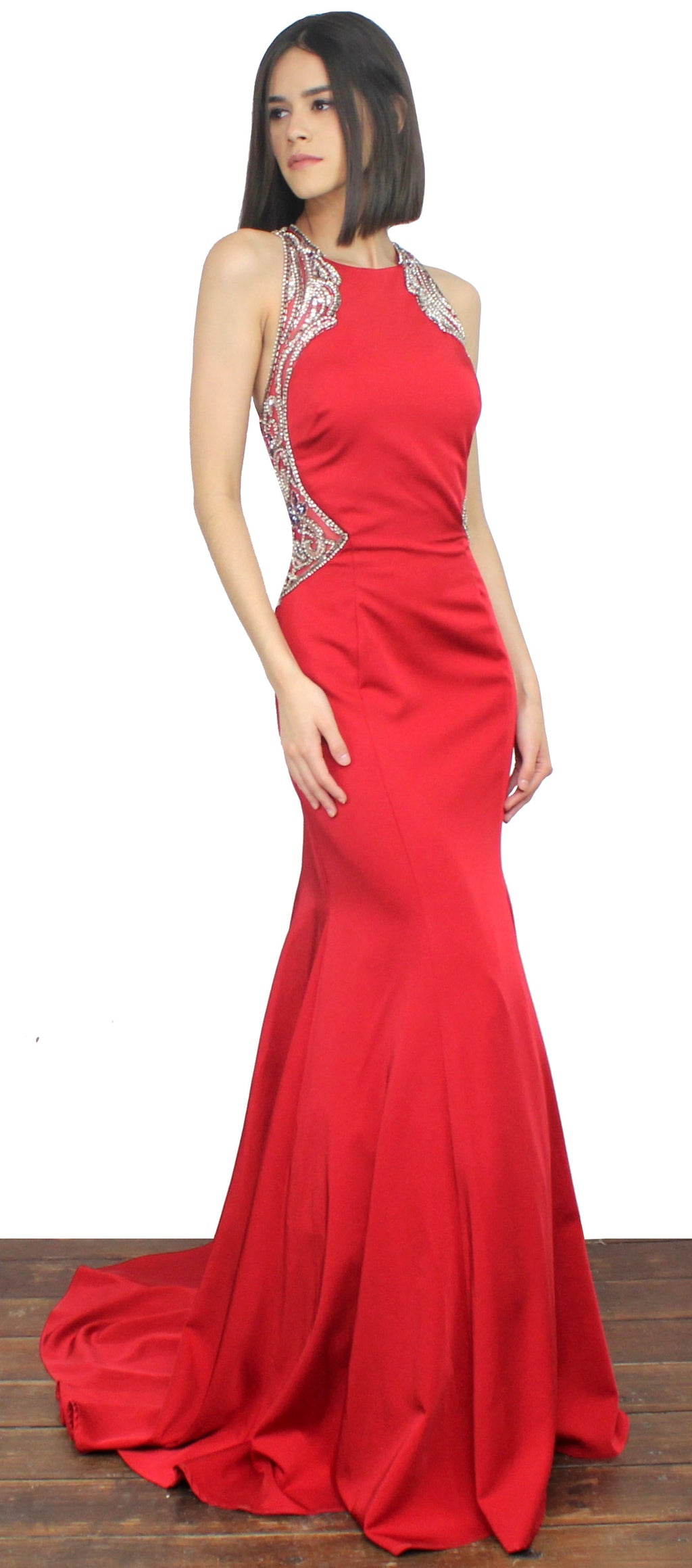 Romanticism Red Mermaid Gown